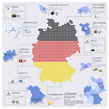 Diseño de Dot And Flag Map Of Alemania Infographic Fotografía de archivo libre de regalías