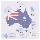 Diseño de Dot And Flag Map Of Australia Infographic Imagen de archivo libre de regalías