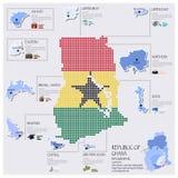 Diseño de Dot And Flag Map Of Ghana Infographic Fotografía de archivo libre de regalías