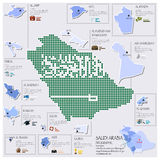 Diseño de Dot And Flag Map Of la Arabia Saudita Infographic Imagen de archivo