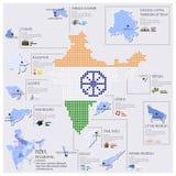 Diseño de Dot And Flag Map Of la India Infographic Imágenes de archivo libres de regalías