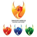 Diseño de Dragon Shield Logo Vector Concept libre illustration
