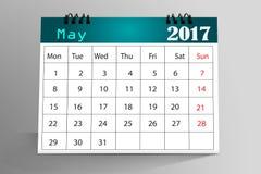Diseño de escritorio 2017 del calendario Foto de archivo libre de regalías