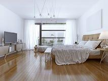 Diseño de estilo contemporáneo del dormitorio brillante imagen de archivo