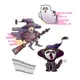 Diseño de Halloween Bruja vieja colorida, espectro e iconos del gato Vector foto de archivo