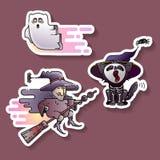Diseño de Halloween Bruja vieja colorida, espectro y etiquetas engomadas del gato Vector fotografía de archivo