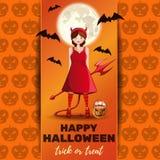 Diseño de Halloween con la muchacha linda en un traje del demonio libre illustration
