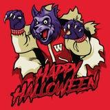 Diseño de Halloween de hombre lobo stock de ilustración