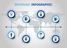 Diseño de Infographic con los iconos de la bebida Fotos de archivo libres de regalías