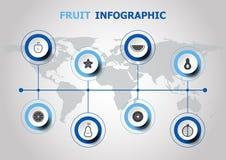 Diseño de Infographic con los iconos de la fruta Fotografía de archivo libre de regalías