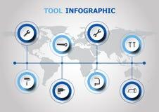 Diseño de Infographic con los iconos de la herramienta stock de ilustración