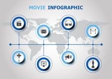 Diseño de Infographic con los iconos de la película Fotos de archivo libres de regalías