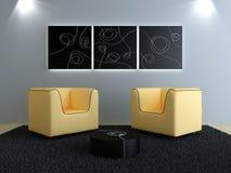 Diseño de interiores - asientos del melocotón y de moderno negro stock de ilustración