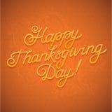 Diseño de la acción de gracias caligrafía de la enhorabuena en fondo anaranjado Imagen de archivo libre de regalías