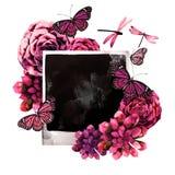 Diseño de la acuarela con los succulents y la foto, Imágenes de archivo libres de regalías
