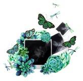 Diseño de la acuarela con los succulents y la foto Imagenes de archivo