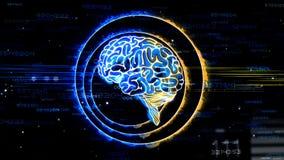 Diseño de la animación de cerebro humano que recibe la entrada del pensamiento lógico y de la creatividad de la imaginación del c stock de ilustración