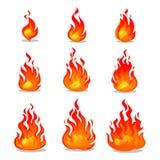 Diseño de la animación del fuego de la historieta en el fondo blanco Ejemplo de la chimenea del vector para la animación, los jue stock de ilustración