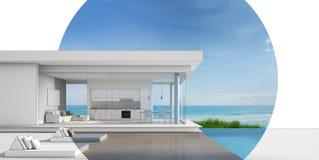 Diseño de la arquitectura de casa de playa de lujo con la piscina de la opinión del mar Foto de archivo