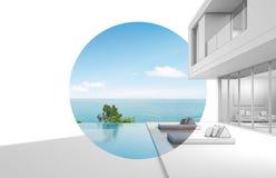 Diseño de la arquitectura de casa moderna de la opinión del mar Imagen de archivo