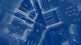 Diseño de la arquitectura: plan del modelo - ejemplo de un edificio residencial/de una tecnología modernos, industria, concepto d libre illustration