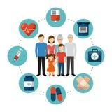 Diseño de la atención sanitaria de la familia ilustración del vector