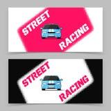 Diseño de la bandera con el icono del coche de competición de la calle Imágenes de archivo libres de regalías