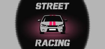 Diseño de la bandera con el icono del coche de competición de la calle Imagen de archivo