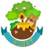 Diseño de la bandera con el oso y la miel Imagen de archivo libre de regalías