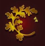 Diseño de la bandera con la hoja y la mariposa Fotografía de archivo libre de regalías