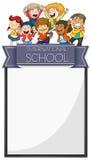 Diseño de la bandera con los niños de la escuela internacional ilustración del vector