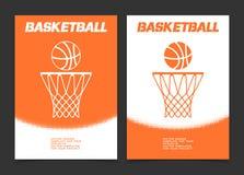 Diseño de la bandera del folleto o del web del baloncesto con el icono de la bola y del aro Foto de archivo