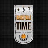 Diseño de la bandera del tiempo del baloncesto Imágenes de archivo libres de regalías