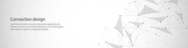 Diseño de la bandera del vector, conexión global con las líneas y puntos Fondo abstracto geométrico de Digitaces libre illustration