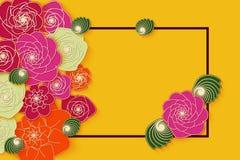 Diseño de la bandera del verano con las flores de papel brillantes para el partido, para las compras, las acciones de la publicid Imágenes de archivo libres de regalías