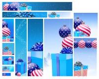 Diseño de la bandera del Web de los regalos de los E.E.U.U. Fotos de archivo