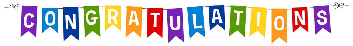Diseño de la bandera para la enhorabuena libre illustration