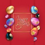 Diseño de la bandera de Pascua con los huevos coloridos stock de ilustración