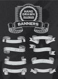 Diseño de la bandera y de la cinta del vector de la pizarra del vintage Imágenes de archivo libres de regalías