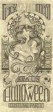 Diseño de la bruja de Art Nouveau Halloween Fotografía de archivo