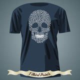 Diseño de la camiseta con el cráneo abstracto hecho de modelo del mehndi Fotografía de archivo