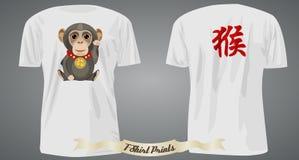 Diseño de la camiseta con el mono y el jeroglífico afortunados Foto de archivo libre de regalías