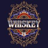 Diseño de la camiseta de la etiqueta del whisky del vintage Imagenes de archivo