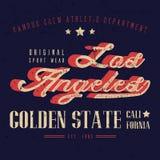 Diseño de la camiseta de Los Ángeles del desgaste del deporte del vintage, tipografía del atletismo Imagen de archivo libre de regalías