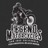 Diseño de la camiseta de los corredores del vintage de las motocicletas de la leyenda Foto de archivo