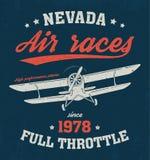Diseño de la camiseta de Nevada, impresión, tipografía, etiqueta con el aeroplano Fotografía de archivo libre de regalías