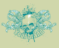 Diseño de la camiseta del cráneo stock de ilustración
