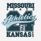 Diseño de la camiseta del deporte Kansas City stock de ilustración
