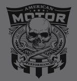 Diseño de la camiseta del escudo del cráneo del motor ilustración del vector