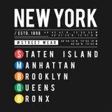 Diseño de la camiseta en el concepto de subterráneo de New York City Tipografía fresca con las ciudades de Nueva York para la imp ilustración del vector